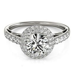 1.65 CTW Certified VS/SI Diamond Solitaire Halo Ring 18K White Gold - REF-411T8X - 26497
