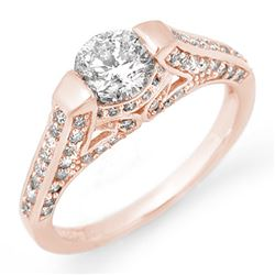 1.42 CTW Certified VS/SI Diamond Ring 14K Rose Gold - REF-205Y3N - 11254