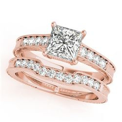 0.86 CTW Certified VS/SI Princess Diamond Solitaire 2Pc Set Antique 14K Rose Gold - REF-153M8F - 314