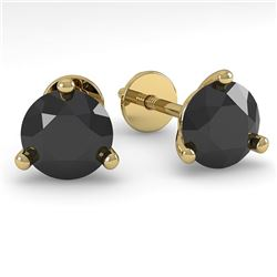 1.0 CTW Black Certified Diamond Stud Earrings 14K Yellow Gold - REF-31M3F - 38312