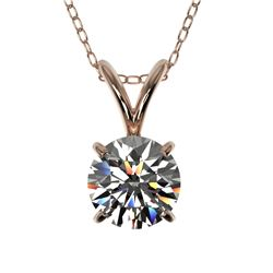 0.72 CTW Certified H-SI/I Quality Diamond Solitaire Necklace 10K Rose Gold - REF-100X2T - 36737