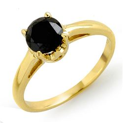 1.0 CTW Vs Certified Black Diamond Solitaire Ring 14K Yellow Gold - REF-41M8F - 11795