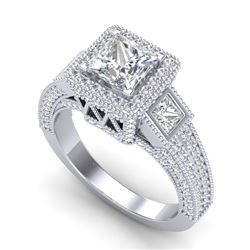 3.53 CTW Princess VS/SI Diamond Micro Pave 3 Stone Ring 18K White Gold - REF-618X2T - 37175