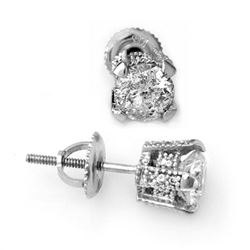 1.0 CTW Certified VS/SI Diamond Solitaire Stud Earrings 14K White Gold - REF-125R8K - 10503