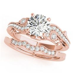 1.32 CTW Certified VS/SI Diamond Solitaire 2Pc Wedding Set Antique 14K Rose Gold - REF-370T2X - 3156