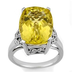 12.20 CTW Lemon Topaz & Diamond Ring 14K White Gold - REF-60W4H - 10509