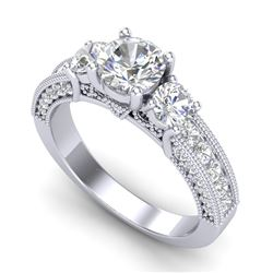 2.07 CTW VS/SI Diamond Solitaire Art Deco 3 Stone Ring 18K White Gold - REF-327H3W - 37016