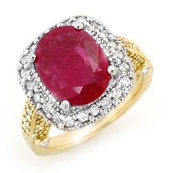 9.40 CTW Ruby & Diamond Ring 14K 2-Tone Gold - REF-180M2F - 13444