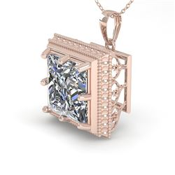 1 CTW VS/SI Princess Diamond Solitaire Necklace 18K Rose Gold - REF-332R8K - 36002