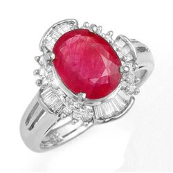 3.83 CTW Ruby & Diamond Ring 18K White Gold - REF-96R8K - 13308