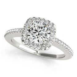0.75 CTW Certified VS/SI Diamond Solitaire Halo Ring 18K White Gold - REF-124W8H - 26596