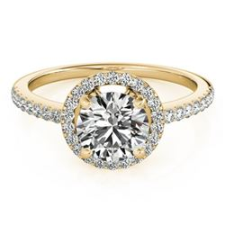 0.90 CTW Certified VS/SI Diamond Solitaire Halo Ring 18K Yellow Gold - REF-132T4X - 26813