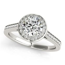 0.75 CTW Certified VS/SI Diamond Solitaire Halo Ring 18K White Gold - REF-132H8W - 26356