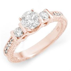 1.0 CTW Certified VS/SI Diamond Ring 14K Rose Gold - REF-131X3T - 11533