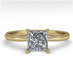 1.01 CTW Princess Cut VS/SI Diamond Engagement Designer Ring 18K Yellow Gold - REF-285M2F - 32419