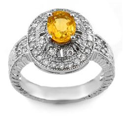 2.08 CTW Yellow Sapphire & Diamond Ring 14K White Gold - REF-72F2M - 10787