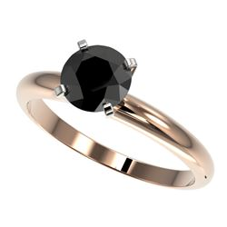 1.25 CTW Fancy Black VS Diamond Solitaire Engagement Ring 10K Rose Gold - REF-39T5X - 32907