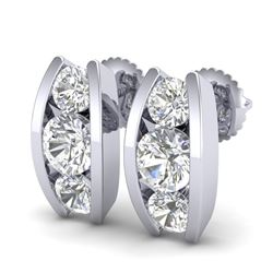 2.18 CTW VS/SI Diamond Solitaire Art Deco Stud Earrings 18K White Gold - REF-300X2T - 37010