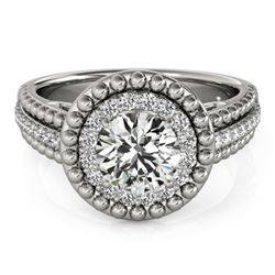 1.15 CTW Certified VS/SI Diamond Solitaire Halo Ring 18K White Gold - REF-217K3R - 26569