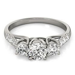 1.25 CTW Certified VS/SI Diamond 3 Stone Ring 18K White Gold - REF-166K2R - 28080