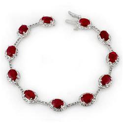 12.40 CTW Ruby & Diamond Bracelet 14K White Gold - REF-140M9F - 10853