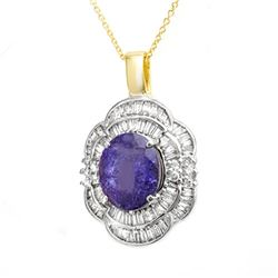 5.60 CTW Tanzanite & Diamond Pendant 14K Yellow Gold - REF-213H6W - 13996