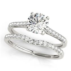 1.07 CTW Certified VS/SI Diamond Solitaire 2Pc Wedding Set 14K White Gold - REF-197N3Y - 31739