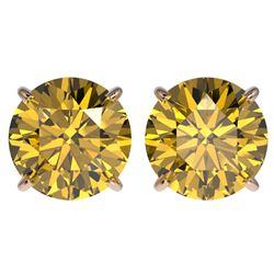 4 CTW Certified Intense Yellow SI Diamond Solitaire Stud Earrings 10K Rose Gold - REF-824K2R - 33140