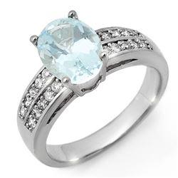 2.75 CTW Aquamarine & Diamond Ring 14K White Gold - REF-66T5X - 11306