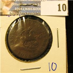 "UPPER CANADA BANK TOKEN DATED 1854 COMMONLY REFERRED TO AS THE ""DRAGON SLAYER"" HALF PENNY"