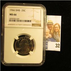 1966 WASHINGTON QUARTER FROM SPECIAL MINT SET GRADED MS66 BY NGC