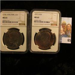 SLABBED IKE DOLLARS 1971-D SLABBED MS65 AND 1976 TYPE 2 IKE DOLLAR SLABBED MS65