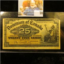 January 2nd, 1900 Dominion of Canada .25c Banknote. EF.