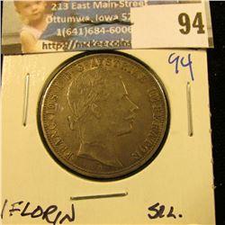 1859-A AUSTRIA 10 FRANCS 1 FLORIN SILVER COIN