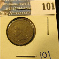 1868 THREE CENT NICKEL WITH FULL LIBERTY