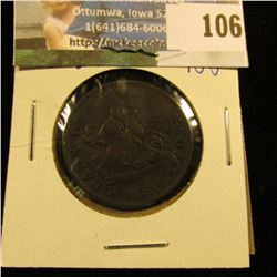 """1857 BANK OF UPPER CANADA HALF PENNY.  THIS COIN IS COMMONLY REFERRED TO AS THE """"DRAGON SLAYER"""""""