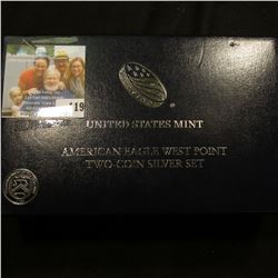 AMERICAN EAGLE WEST POINT TWO COIN SILVER SET.  INCLUDED IN THIS SET IS A REVERSE PROOF EAGLE WHICH