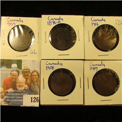 1859, 1876-H, 1918, 1919, AND 1916 CANADIAN LARGE CENTS.  THESE PENNIES ARE BETTER THAN AVERAGE CIRC