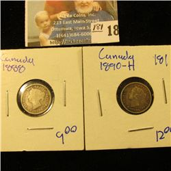 1888 AND 1890-H CANADIAN SILVER 5 CENT PIECES