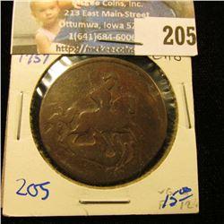 1757 RUSSIA 2 KOPEKS COPPER COIN