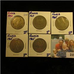 SET OF 5 RUSSIAN COINS FROM THE SIXTIES AND THE SEVENTIES