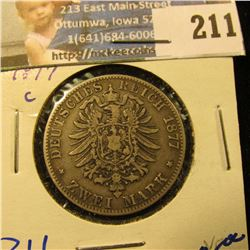 GERMANY/PRUSSIA 1877-C SILVER 2 MARK COIN