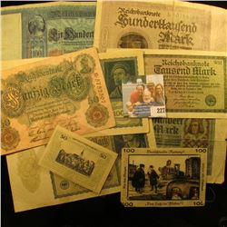 GERMAN BANK NOTE LOT INCLUDES 2 10,000 MARK NOTE, 1000 MARK NOTE, A COUPLE OF HUNDRED MARK NOTES, 50