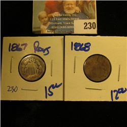 1867 AND 1868 SHIELD NICKELS
