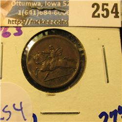 """1863 CIVIL WAR TOKEN.  ON THE REVERSE IT SAYS """"UNION FOREVER"""""""