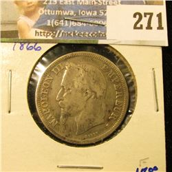 1866 FRENCH SILVER 2 FRANCS