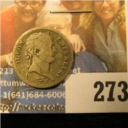 SILVER FRENCH HALF FRANC DATED 1810-B KM NUMBER 691.2