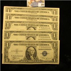 5 CRISP CONSECUTIVE SERIES 1935-B ONE DOLLAR SILVER CERTIFICATES IN CONSECUTIVE ORDER