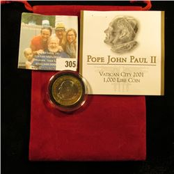 "Red Felt Bag containing ""Pope John Paul II Vatican City 2001 1,000 Lire Coin, encapsulated, Gem BU,"