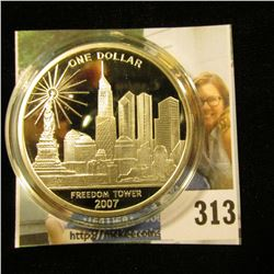 "2007 Cook Islands One Dollar ""Freedom Tower/We Will Never Forget"", 39mm Proof, encapsulated."